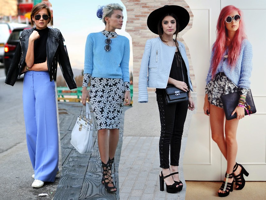 pastel trend spring 2014 outfits fashion blog bloggers wearing sky blue poweder blue pastel street style streetstyle