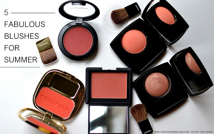 Best Bright Blushes for The Summers - Photos - Swatches - Dolce Gabbana Sole - MAC Hidden Treasure - Chanel Frivole - Brume Dor - NARS Liberte