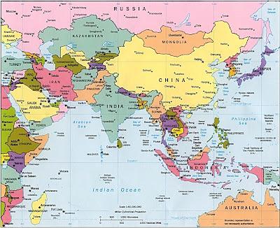 Karte von asien politischen