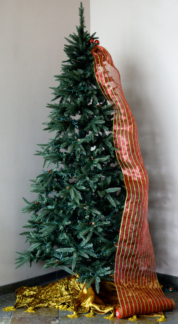 How to Decorate a Christmas Tree Using the Tinsel Ball Ties to Add Deco Mesh  and Ribbon - Party Ideas By Mardi Gras Outlet: Quick Christmas Tree Decorating