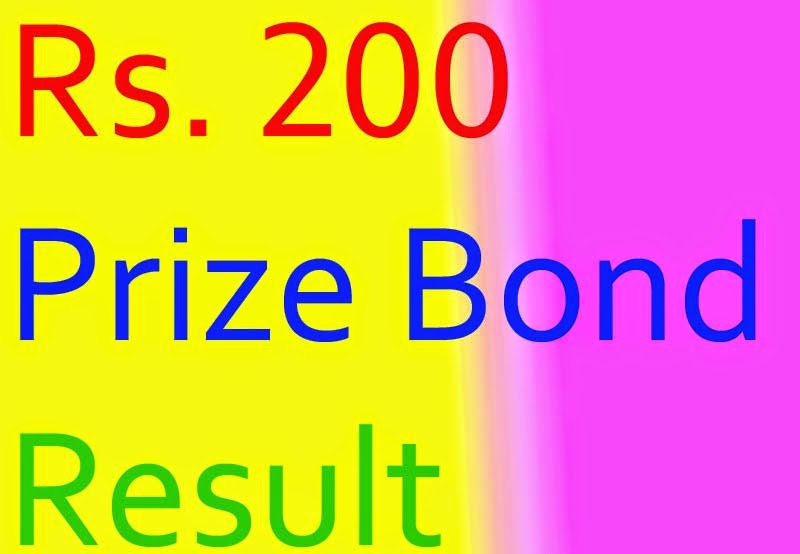 Prize Bond Draw Result Rs. 200 on 15th September 2014