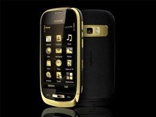 smartphone Luxe nokia oro C7 or cuir saphir