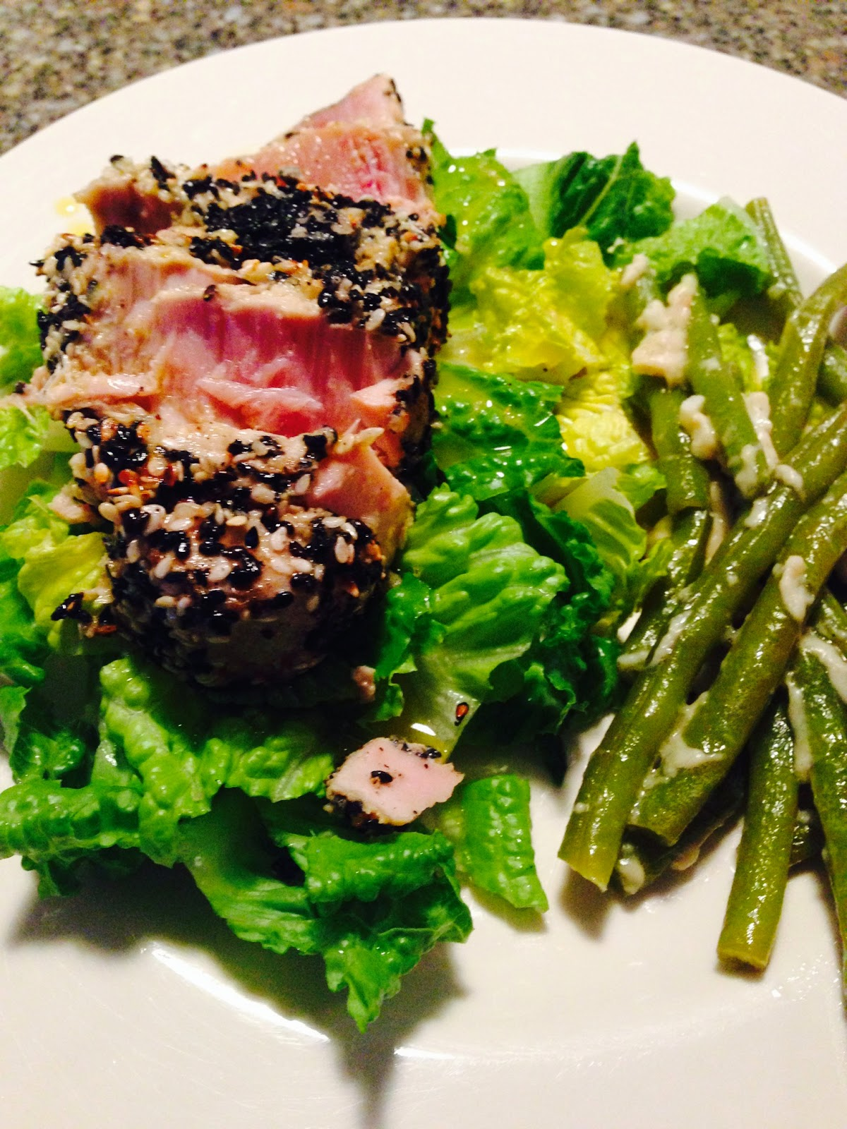 Sesame Seared Tuna with Lime Ginger Vinaigrette with Parmesan Green ...