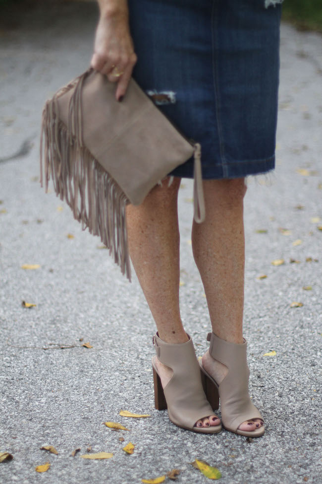mango clutch, vince booties