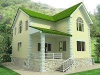 modelo de casa de dos pisos con techo verde