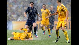 Así se jugó instantes antes de parar el partido por la lluvia