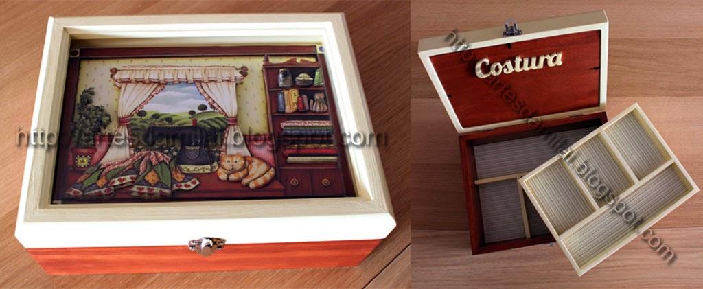 Caixa de costura com arte francesa