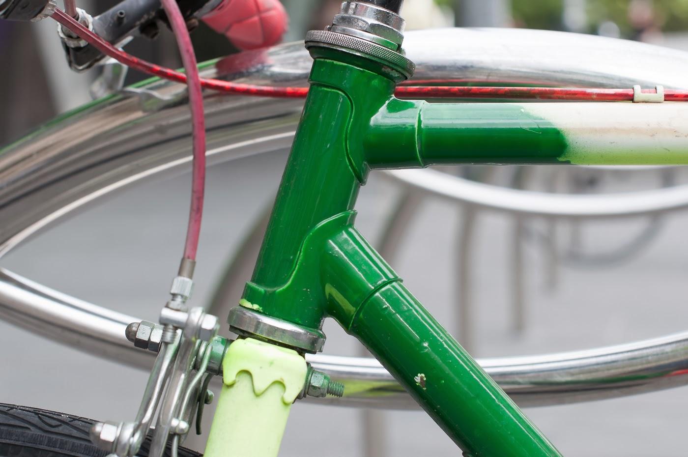 Pub bike, bike, bicycle, conversion, road bike, tim macauley, the biketorialist, Melbourne, Australia, swanston st, head tube, lugging, lugs, lug,