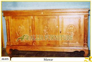 Bufet kayu jati ukiran model Mawar