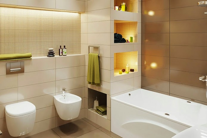 Elegant small bathroom design in beige and brown color scheme for Brown beige bathroom ideas