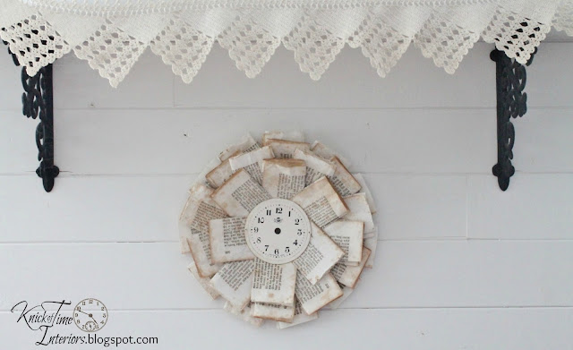 Repurposed Book Page Wreath by http://knickoftimeinteriors.blogspot.com/