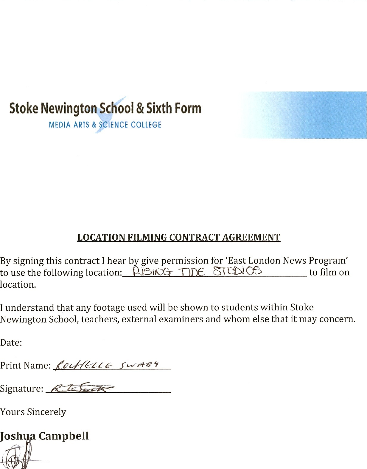 5.4.4. Location Filming Permission For East London News.  Film Contract Templates