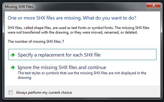 Autocad Missing SHX Files diyalog kutusundan