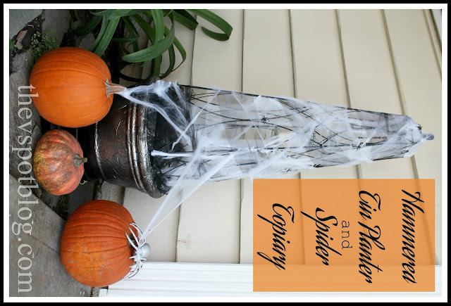 faux, hammered, metal, planters, topiary, Halloween, outdoors, spinderwebs