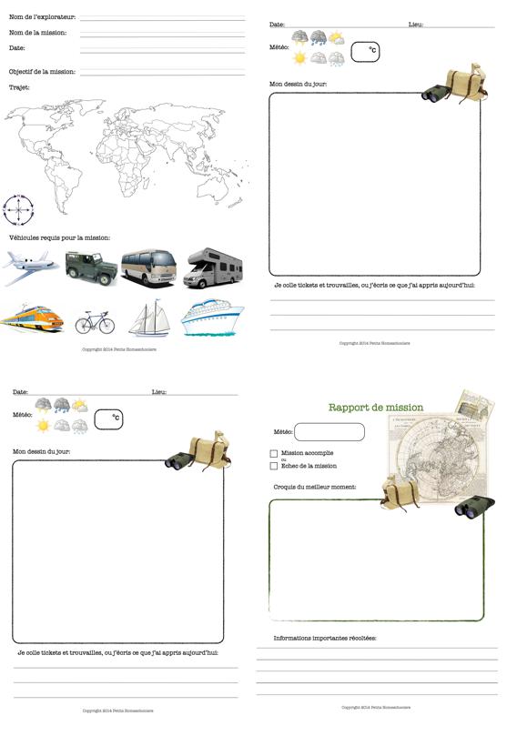 petits homeschoolers carnet de voyage d 39 explorateur imprimer. Black Bedroom Furniture Sets. Home Design Ideas