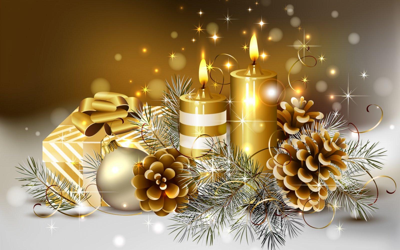 Adornos navideños en color dorado - Fondos para Navidad   Banco de ...