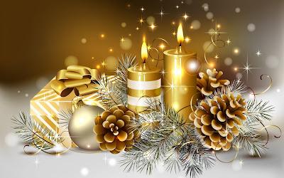 Adornos navideños en color dorado - Fondos para Navidad