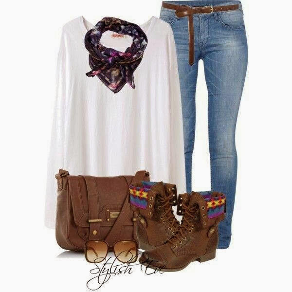 White oversize blouse, jeans, scarf, hand bag and army shoes for fall
