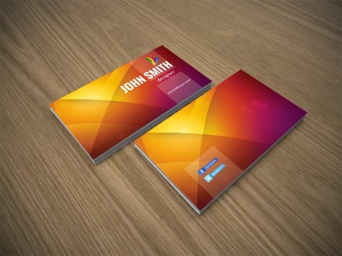 Free Orange Business Card PSD Template