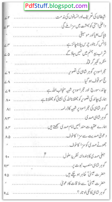 contents of the Urdu book Daur-e-Jadeed Ka Maseelma Kazzab