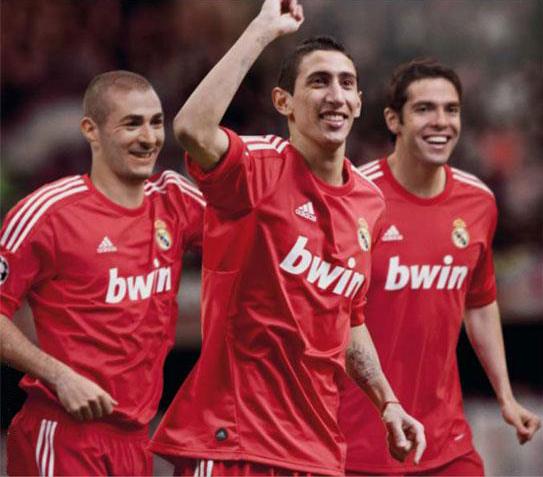 segunda camiseta del Real Madrid roja Champions 2011 2012