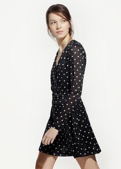 Mango 2015 Elbise Modelleri  puantiyeli siyah kısa elbise, yazlık ve günlük elbise modeli