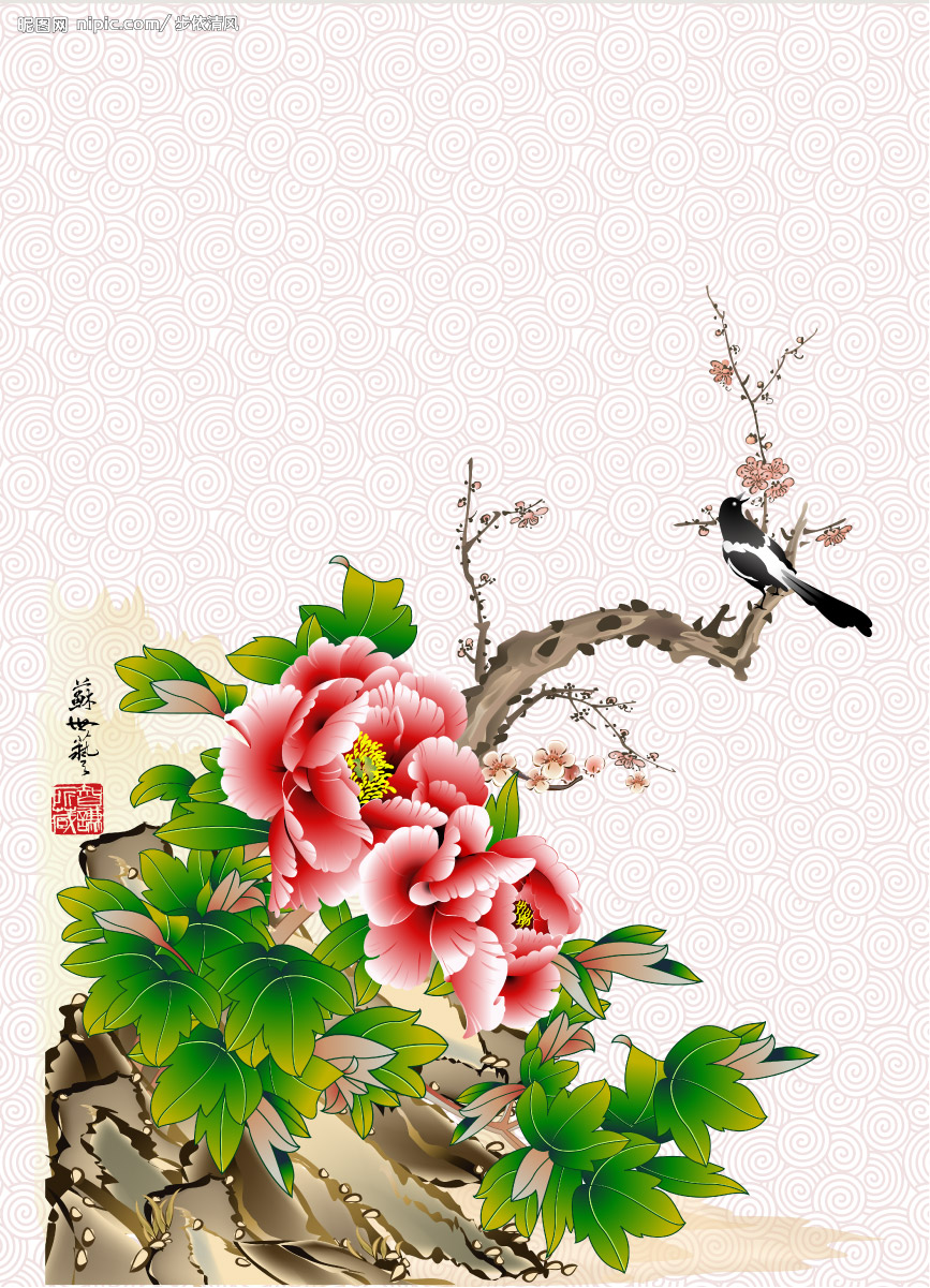 Calligraphy Flower Chinese Painting