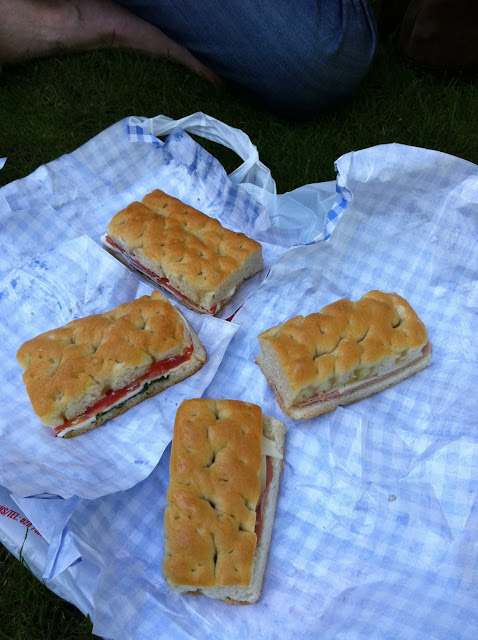 I Camisa and Son Old Compton Street Soho London focaccia with mortadella and provolone, tomato and basil sandwiches