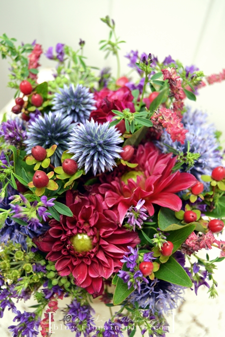 autumn bouquet, wild bouquet, burgundy blue bouquet, burgundy dahlias, globe thistle, bouquet handle grass