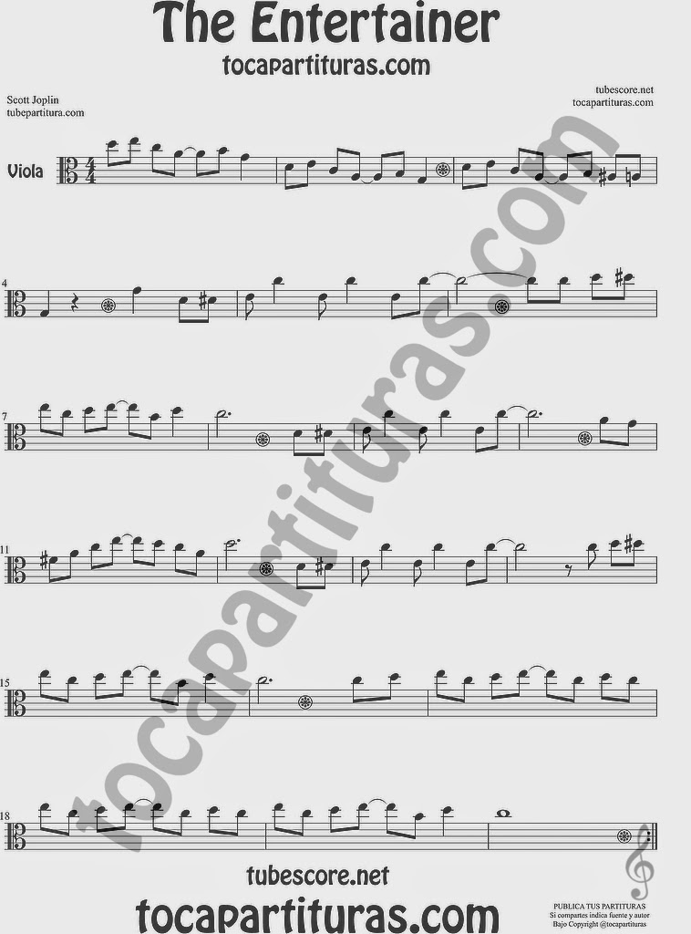 The Entertainer Partitura de Viola Sheet Music for Viola Music Score