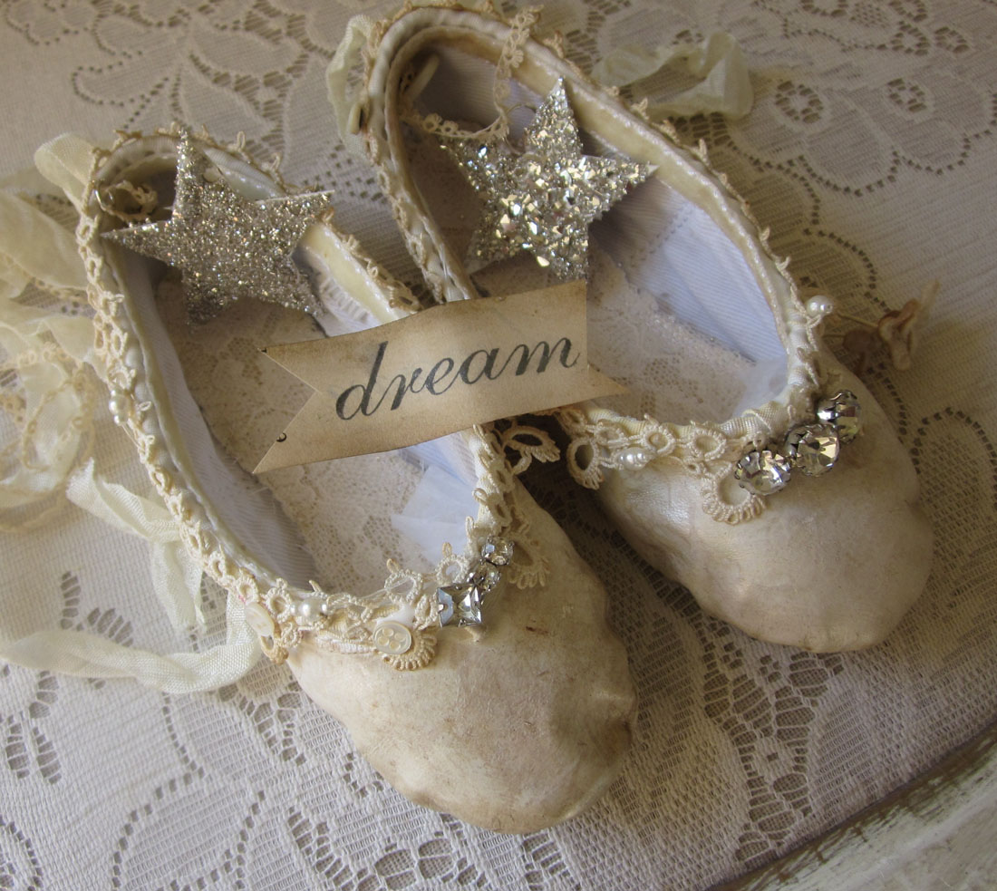 Tarnished and tattered shoes for Ballet shoes decoration
