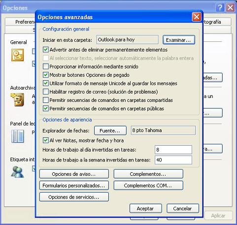 MS Outlook 2003: Opciones Avanzadas