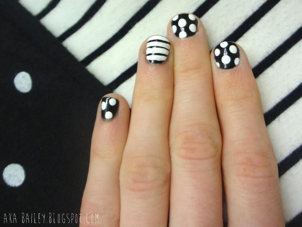 Black and white nails, polka dots and stripes