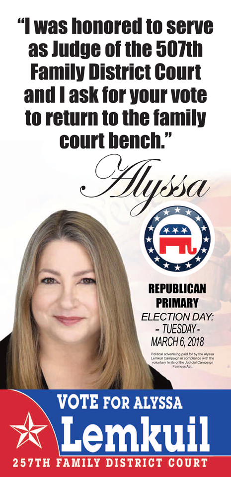 JUDGE ALYSSA LEMKUIL VALUES THE VOTE, PRAYERS AND SUPPORT OF EVERY HARRIS COUNTY VOTER
