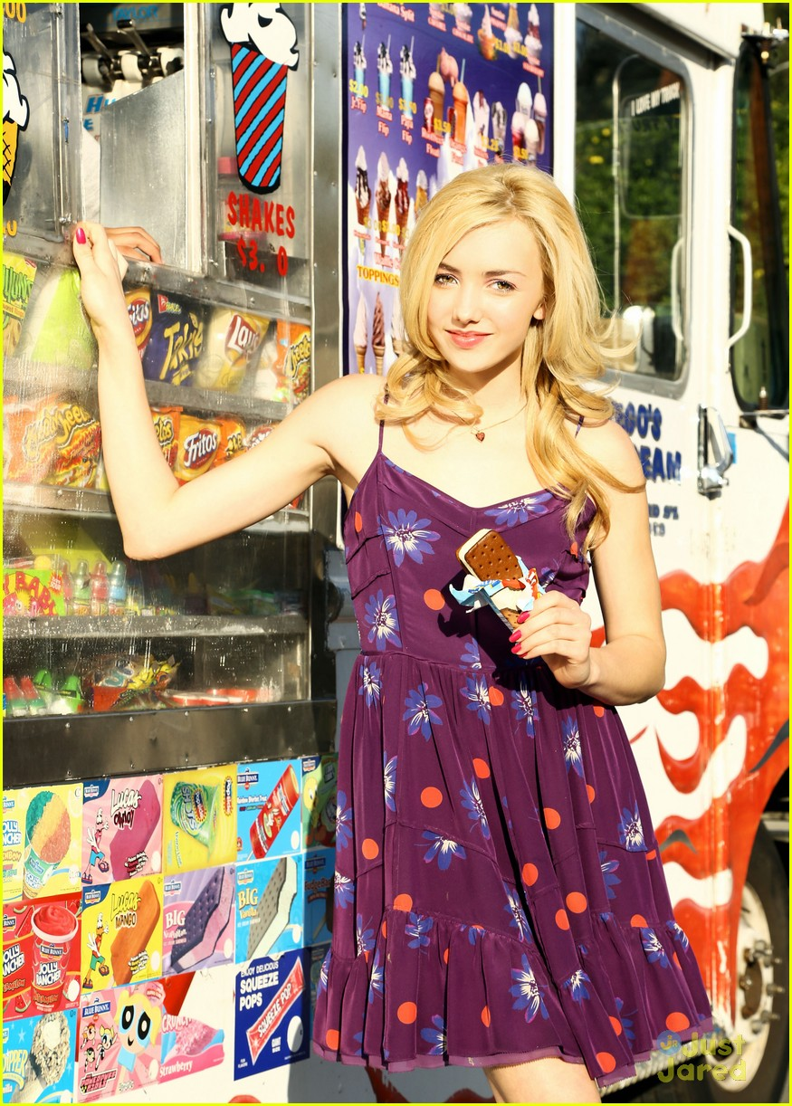 Peyton List Grabs A Cool Ice Cream Sandwich During Her Fashion Shoot