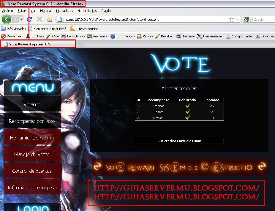 Interfaz del vote reward