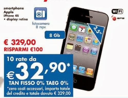 Da panorama fino a fine gennaio 2014 trovate l'iPhone 4S a tasso zero e a prezzo basso