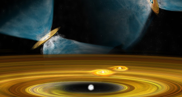 In this artist's conception, a widely-separated pair of young, still-forming stars is in the background, forming by fragmentation of the material in the larger cloud in which they are born. In the foreground, companions in a multiple-star system are forming through fragmentation of a dusty disk that surrounds the original young star. CREDIT: Bill Saxton, NRAO/AUI/NSF.