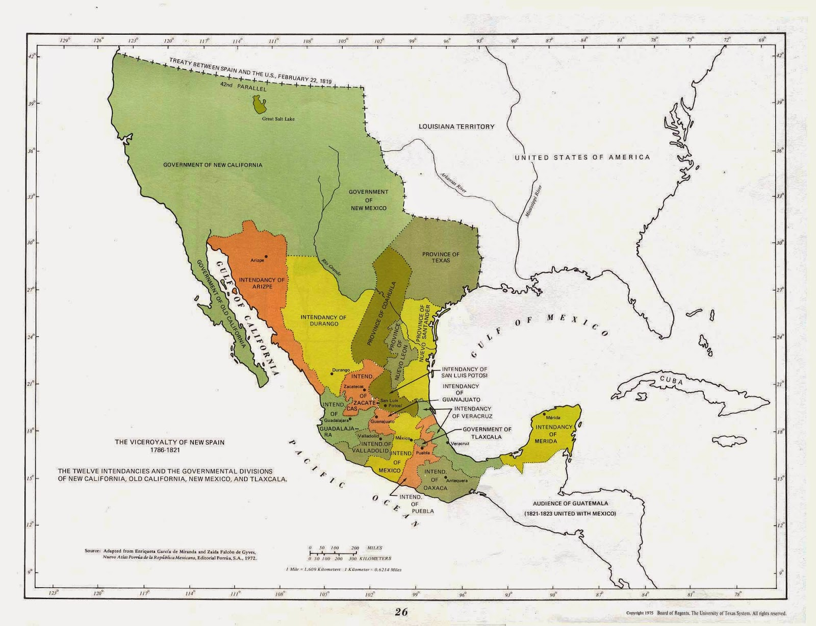 colonial mexico in the continental united states where was colonial mexico