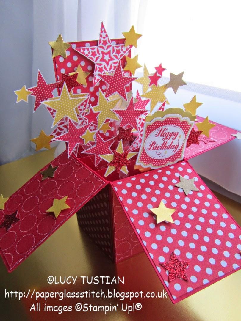 paper. glass. stitch. exploding stars birthday popupboxcard, Birthday card