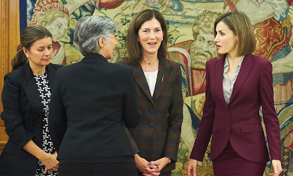 Queen Letizia of Spain attends several audiences at Zarzuela Palace, HUGO BOSS Bedina blouse, Carolina Herrera python pumps, Hugo Boss Jamayla  Blazer and Valessima Skirt