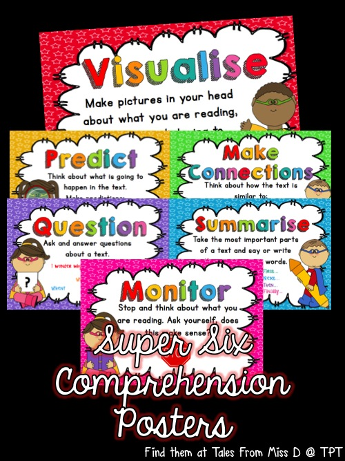 http://www.teacherspayteachers.com/Product/Super-Six-Comprehension-Strategies-Super-Powers-1381461