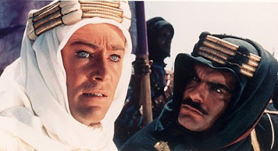 Peter O'Toole as T. E. Lawrence, Omar Sharif as Sherif Ali in Lawrence of Arabia, Directed by David Lean