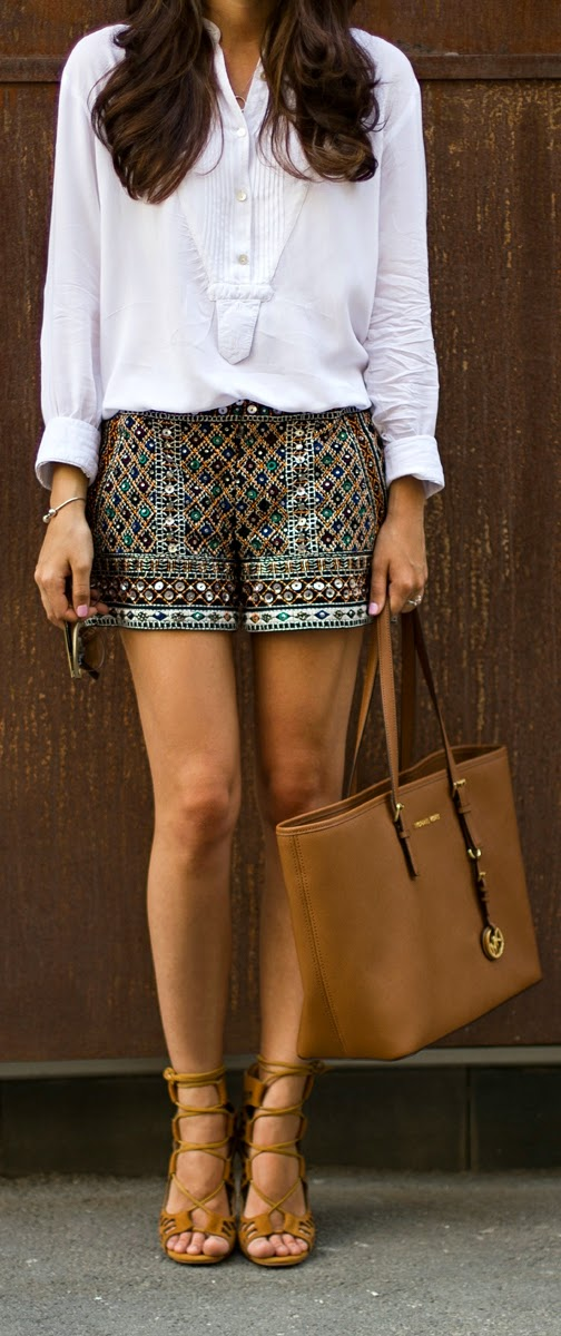Zara Sequined Short with White Shirt and Michael Kors Chocolate Bag | Chic Outfits
