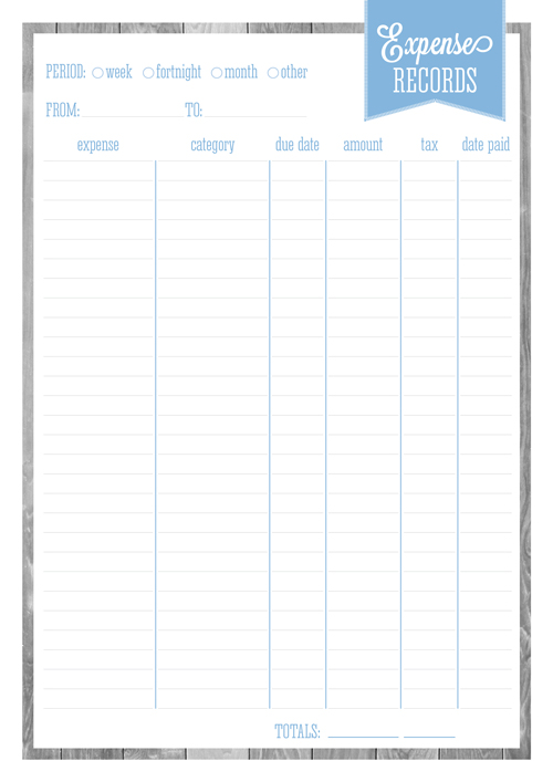 Free Printable Home Organizer - Expense Records