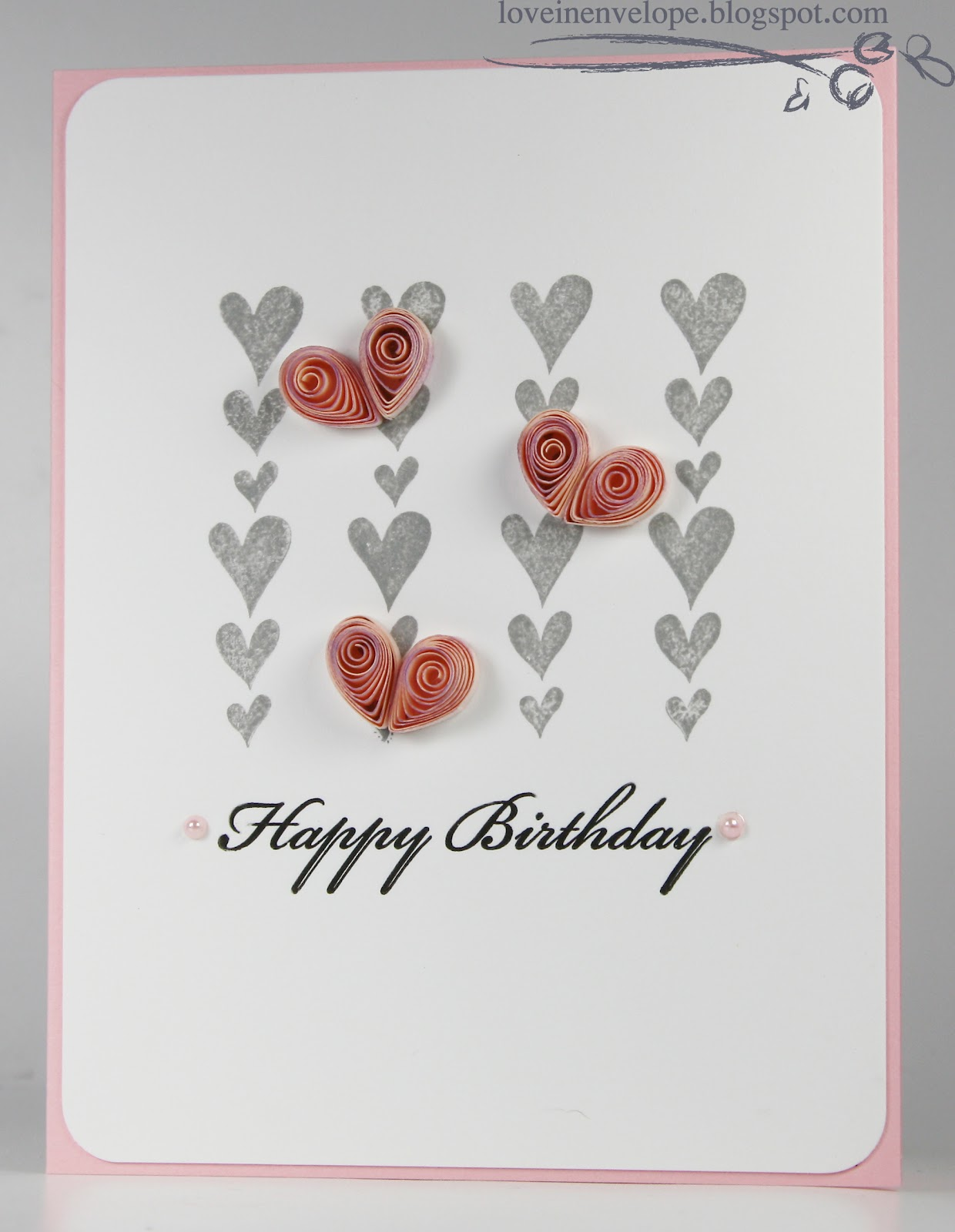 Love in Envelope: Letterpress Happy Birthday Quilled Hearts Card