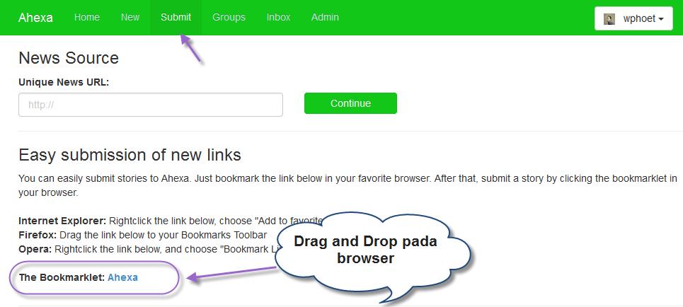 Bookmarklet Pada halaman Submit Yang Harus Di Drag And Drop Pada Toolbar Browser