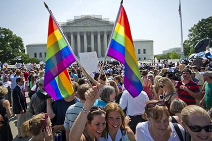 Crowds in Washington celebrate the win as the Defense of Marriage Act is struck out