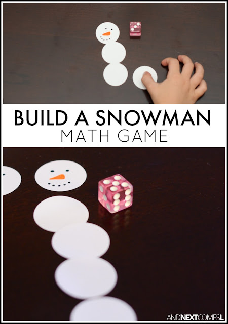 Build a snowman math & counting game for kids from And Next Comes L
