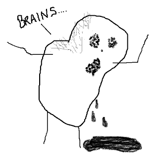 Stick figure sketch of a zombified pork chop saying, &quot;Brains.......&quot;